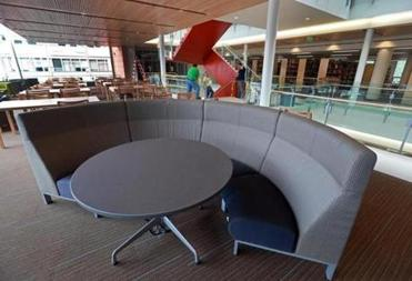 One of the unique seating areas in the library.