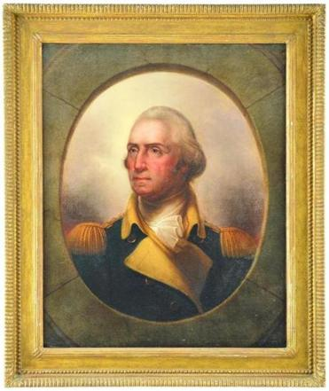 Rembrandt Peale's 1857 portrait of George Washington, a copy of the original portrait he painted in 1795 when he was 17, is expected to bring $150,000-$200,000 at James D. Julia's Fine Art, Asian, & Antiques Auction next week.
