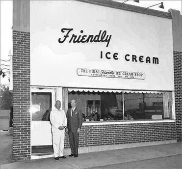 Friendly's founders the Blake Brothers at the site of their first ice cream parlor.