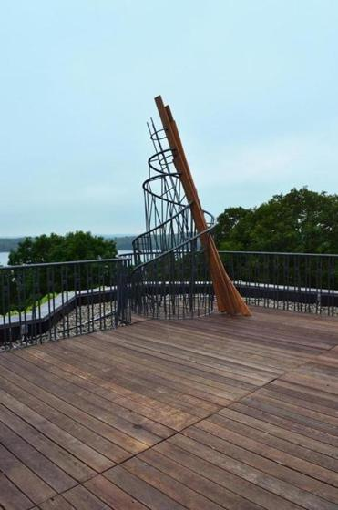 "Aaron Stephan's ""Monument on a Museum"" echoes the deck's railings."