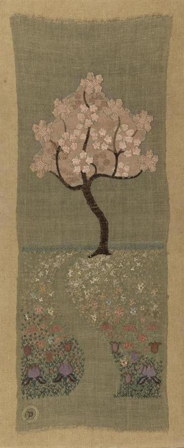 "A wall hanging titled ""Rose Tree."""