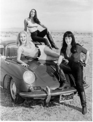"Haji (on roof) was cast as one of three killer dancers, along with Tura Satana (right), in ""Faster, Pussycat! Kill! Kill!"""