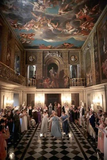 Regency dancing during the Pride and Prejudice Ball at Chatsworth House in England in June. The event celebrated the 200th anniversary of the publication of Austen's classic novel.