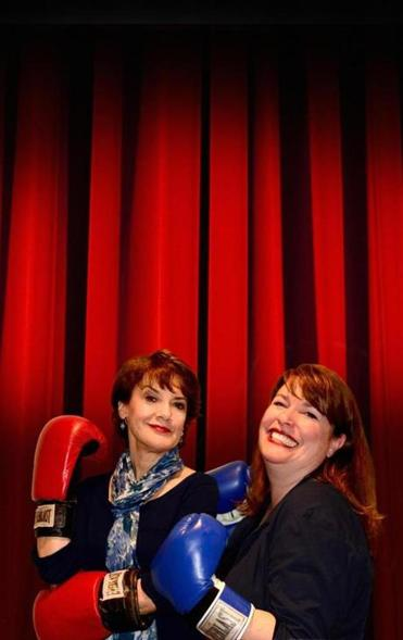 "Kathy St. George (left) and Kerry Dowling humorously battle for center stage in ""Dueling Divas (and a Dandy!)."""