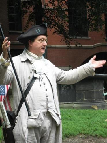 Mr. Jolly giving tours on the Freedom Trail in Boston as Nathaniel Balch.