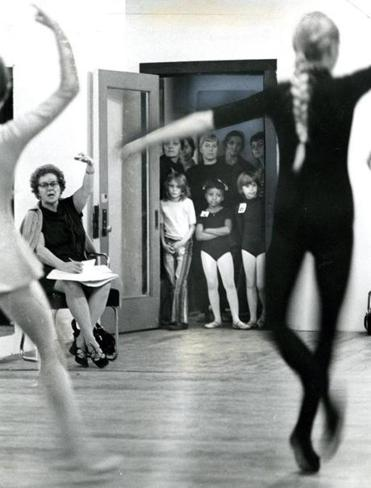 November 26 1971 / fromthearchive / Globe Staff photo by Tom Landers / Laurita Darden (in center of doorway) and Janet Farrell (right) watch some of the older girls try out at the Boston Ballet Company.
