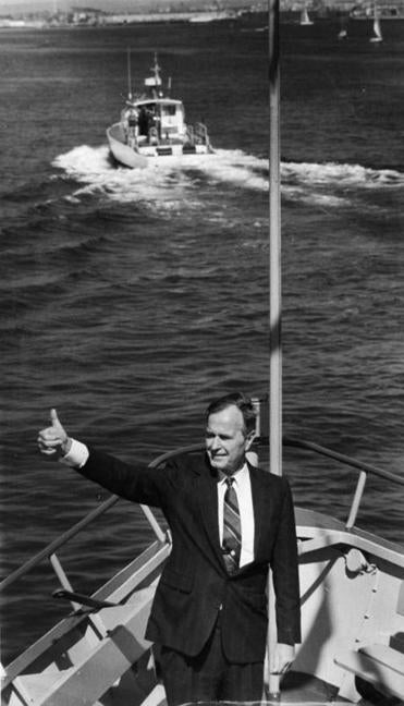 George H.W. Bush visited Boston Harbor during his campaign on Sept. 6, 1988.
