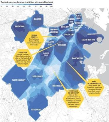 Bostons Neighborhoods The Consensus Map The Boston Globe - Boston neighborhood map