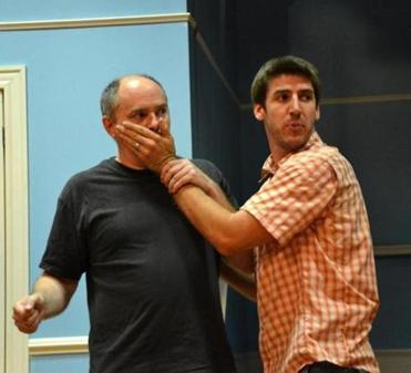 "Neil A. Casey (above left) plays ""One Man"" and Dan Whelton is one of the ""Two Guvnors"" in  the LyricStage production directed by Spiro Veloudos."