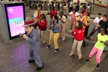 """The Safety Bounce"" video was taped inside MBTA stations."