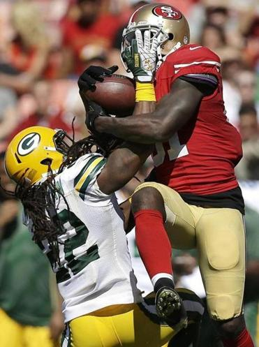 The Packers had a hard time covering Anquan Boldin, who had 13 catches for 208 yards and a TD in his 49ers debut.