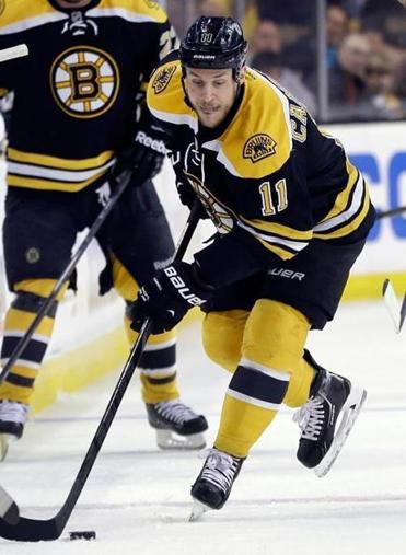Gregory Campbell, who broke his right fibula blocking a shot in last season's playoffs, has skated with the Bruins three times.