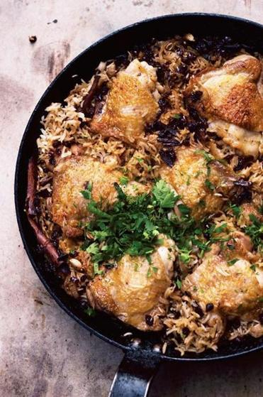 "From ""Jerusalem,"" chicken with caramelized onions and cardamom rice."