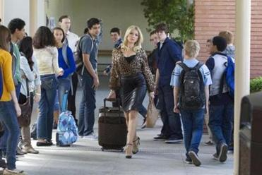 "Boston native Ari Graynor is shown on the set of the CBS pilot ""Bad Teacher."" She's in the title role."