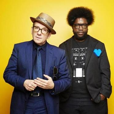 "Elvis Costello (left) with Roots drummer Ahmir ""Questlove"" Thompson."
