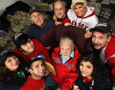 Family members surrounded Mr. Gilbert last year. Clockwise from left were Louise and Ari Curelop, Harvey Gilbert, and Mark, Ethel, Gary, Samantha, and Craig Curelop.