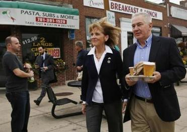 Martha Coakley left with her husband, retired police deputy superintendent Thomas F. O'Connor, Jr., after making her first campaign appearance.