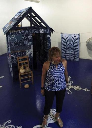 Franklin in front of her Indigo Project.