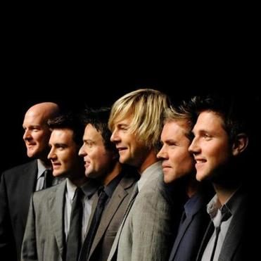 From left: George Donaldson, Emmet Cahill, Ryan Kelly, Keith Harkin, Neil Byrne, and Colm Keegan of Celtic Thunder.