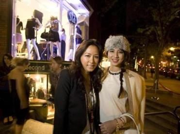 Tonya Chen Mezrich (left) styled model Diana Schron at the anniversary party.