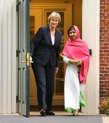 "Malala Yousafzai walked with Harvard University president Drew Faust on Friday. The 16-year-old said of the Taliban, ""They were afraid of the power of education."""