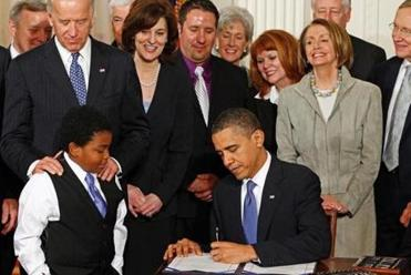 President Obama signs the Patient Protection and Affordable Care Act, better known as Obamacare, into law on March 23, 2010.