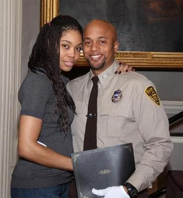 EMT Marcus Jerome and his wife Rachel at his Boston EMS graduation in 2012 in Faneuil Hall.