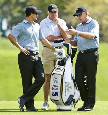 Adam Scott (left), with caddie Steve Williams and Nick Price, is the only International player ranked in the top 15.