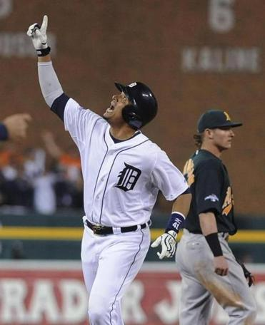 Tigers DH Victor Martinez had his team pointed in the right direction when he belted this home run in the seventh inning. (AP Photo/Lon Horwedel)