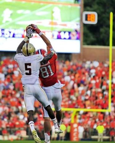 Clemson tight end Stanton Seckinger has position on BC's Al Louis-Jean while making this second-half reception.