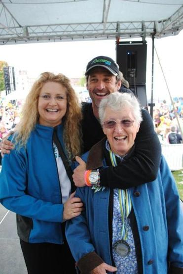 Patrick Dempsey with his mother, Amanda (right), and sister Mary.