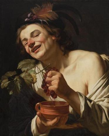 "Detail of Gerrit van Honthorst's ""Smiling Young Man Squeezing Grapes.''"