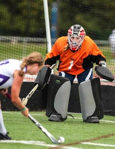 Audrey Dolloff stands tall in goal.