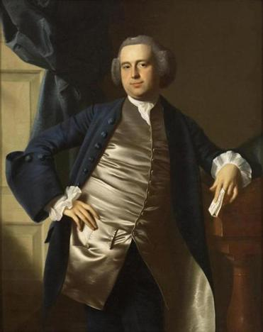 """Portrait of the Honorable Moses Gill, Esq.,"" a 1764 painting by John Singleton Copley, hangs at the exhibit's entrance."