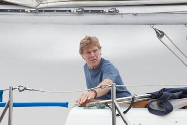 Robert Redford rarely utters a word in the new survival movie.