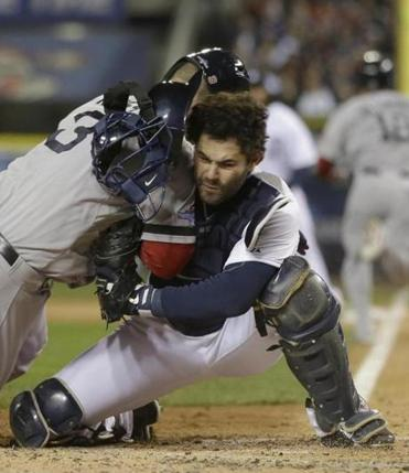 Alex Avila held onto the ball in Game 5 when David Ross slammed into him at the plate, but the play came at a cost.