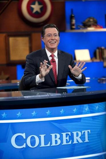 "Stephen Colbert enjoys a taping of ""The Colbert Report"" in New York."