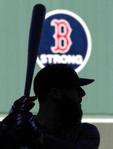 Dustin Pedroia took batting practice at Fenway Park Oct. 21 as the Red Sox prepared to play the St. Louis Cardinals in the World Series.