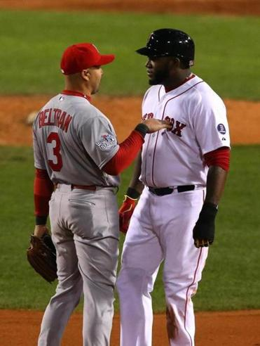 Cardinals right fielder Carlos Beltran stopped to chat with David Ortiz in the eighth inning.