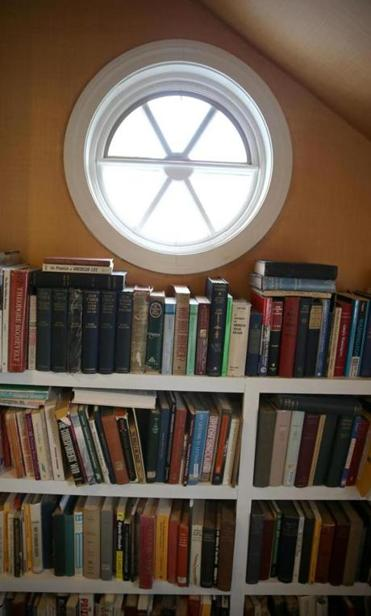Goodwin's home is filled with books.