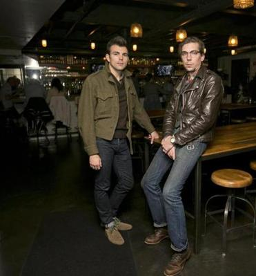 Designer Stephen Martyak (left) with musician Justin Townes Earle at the Sinclair.