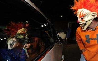Regan Skinner, 10, screamed during a haunted car wash in Michigan.