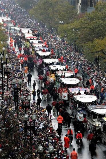 A duck boat caravan moved along Boylston Street during the Red Sox World Series victory parade in 2004.