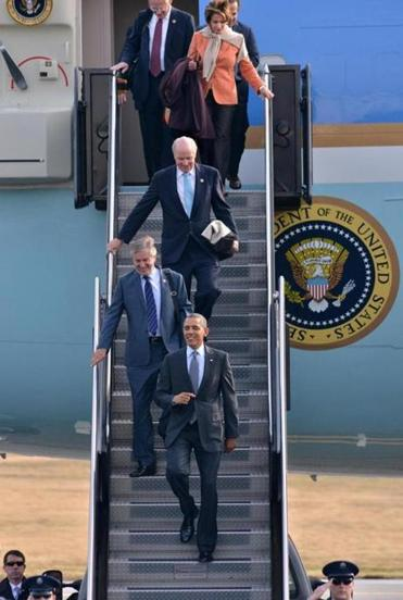 After his arrival Wednesday at Logan Airport, President Obama had a slate of stops that included a fund-raiser hosted by Weston residents Alan and Susan  Solomont, with guests including Governor Deval Patrick and former congressman Barney Frank.