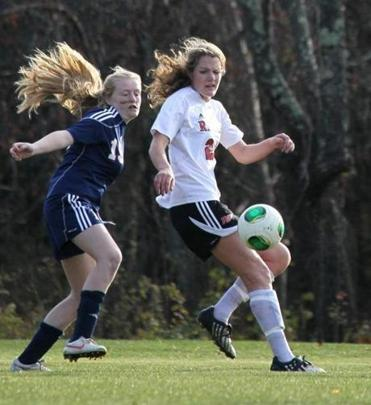 Rivers School senior Maclaine Lehan (right) cuts off Lawrence Academy's Jordan Monbouquette on Wednesday.