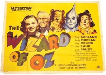 "A poster for the 1955 British reissue of ""The Wizard of Oz."""