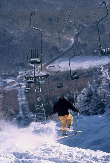 The solemn ride up to the top of Mad River Glen on the famous Single Chair.