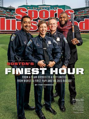 David Ortiz and the Boston police officers on the Sports Illustrated cover.