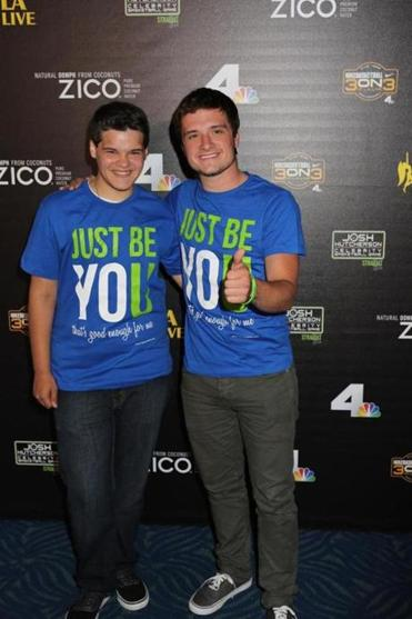 Zachary Kerr (left) with actor Josh Hutcherson earlier this year.