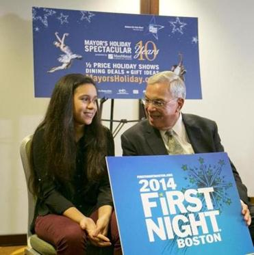 Mayor Thomas M. Menino spoke with Melissa Vallejo, 13, on Thursday. Melissa created the design for First Night.